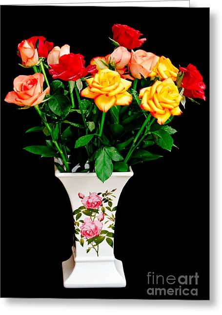 Colrful Greeting Cards - Roses in the Vase Greeting Card by Yurix Sardinelly
