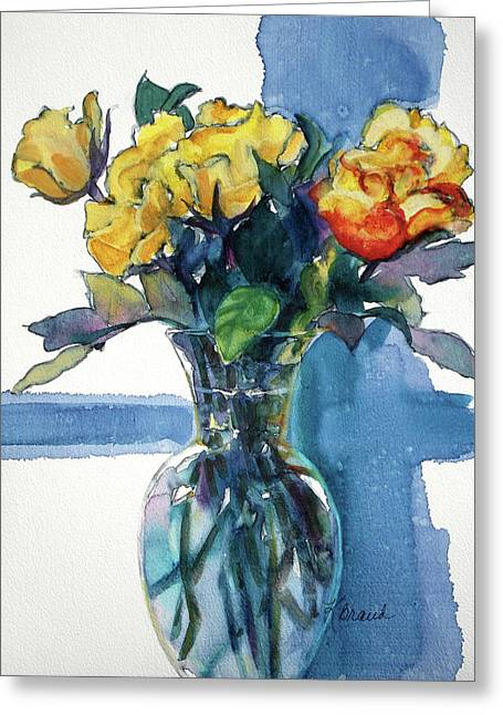 Floral Still Life Mixed Media Greeting Cards - Roses in Vase Still Life I Greeting Card by Kathy Braud