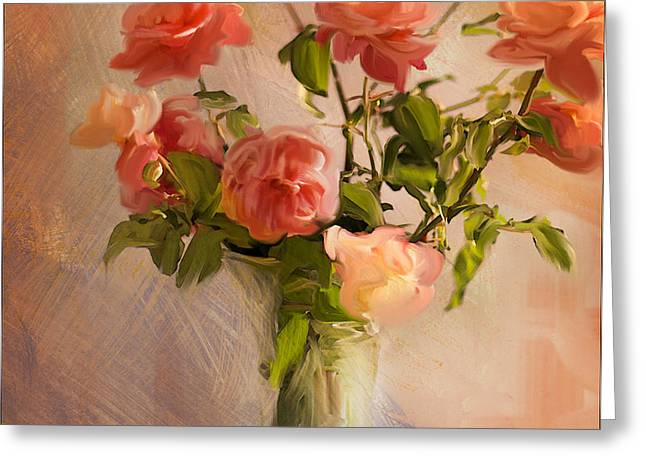 Roses la Belle Greeting Card by Linde Townsend