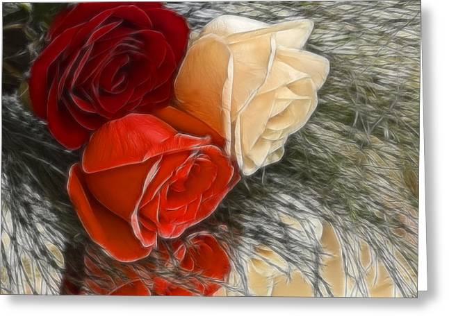 Cheryl Cencich Greeting Cards - Roses of Three Greeting Card by Cheryl Cencich