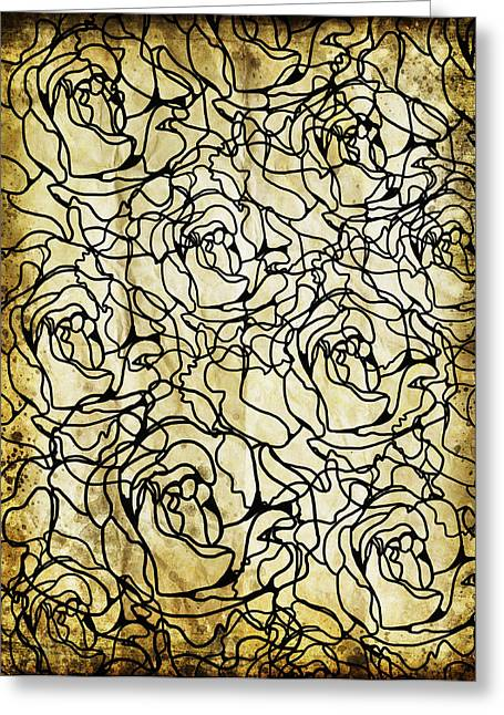Flower Blossom Greeting Cards - Roses Pattern Greeting Card by Setsiri Silapasuwanchai