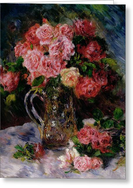 Stalked Greeting Cards - Roses Greeting Card by Pierre Auguste Renoir