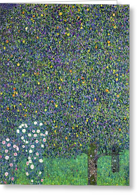 1918 Paintings Greeting Cards - Roses under the Trees Greeting Card by Gustav Klimt