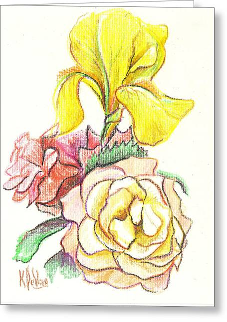 Flower Still Life Mixed Media Greeting Cards - Roses with Yellow Iris Greeting Card by Kip DeVore
