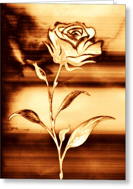 Woodburning Greeting Cards - Rosewood Greeting Card by Dolly Mohr