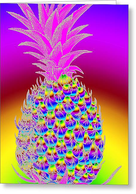 Retro-collage Greeting Cards - Rosh Hashanah Pineapple Greeting Card by Eric Edelman