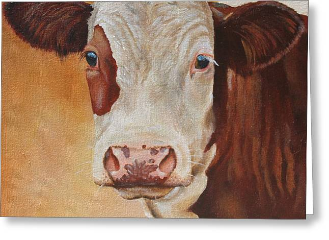 Moo Greeting Cards - Rosie Greeting Card by Laura Carey