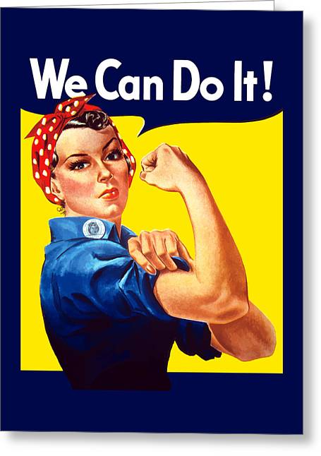 Two Greeting Cards - Rosie The Rivetor Greeting Card by War Is Hell Store