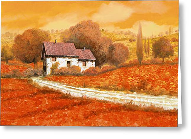 Vineyards Paintings Greeting Cards - Rosso Papavero Greeting Card by Guido Borelli