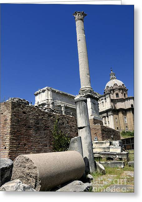 Ancient Ruins Greeting Cards - Rostra. Column of Phocas and Septimius Severus arch in the Roman Forum. Rome Greeting Card by Bernard Jaubert
