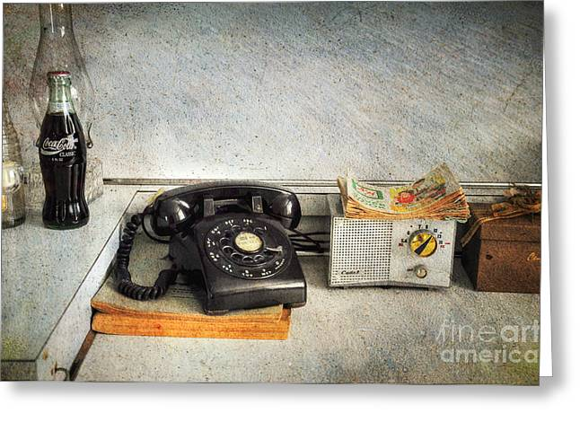 Interior Scene Greeting Cards - Rotary Dial Phone in Black S and H Stamps Greeting Card by Paul Ward