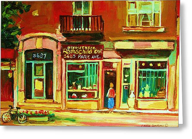 Montreal Pizza Places Greeting Cards - Rothchilds Jewellers On Park Avenue Greeting Card by Carole Spandau