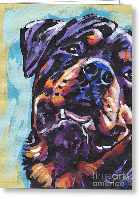 Puppies Greeting Cards - Rottie Power Greeting Card by Lea