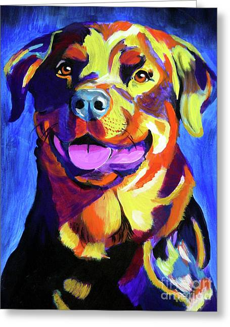 Alicia Vannoy Call Paintings Greeting Cards - Rottweiler - Starr Greeting Card by Alicia VanNoy Call
