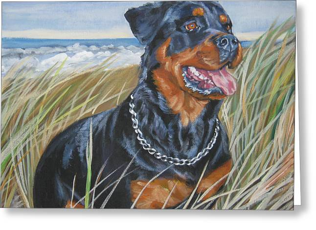 Rottweiler Greeting Cards - Rottweiler at the Beach Greeting Card by Lee Ann Shepard