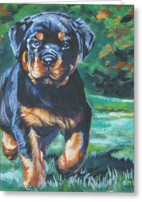 Rottweiler Greeting Cards - Rottweiler Pup Greeting Card by Lee Ann Shepard