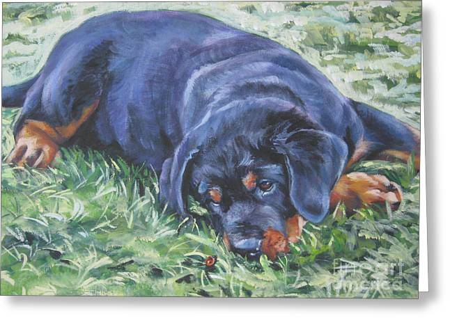 Recently Sold -  - Puppies Paintings Greeting Cards - Rottweiler Puppy Greeting Card by Lee Ann Shepard