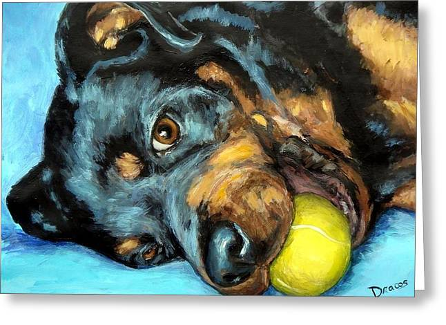 Rottweiler Greeting Cards - Rottweiler with Ball Greeting Card by Dottie Dracos