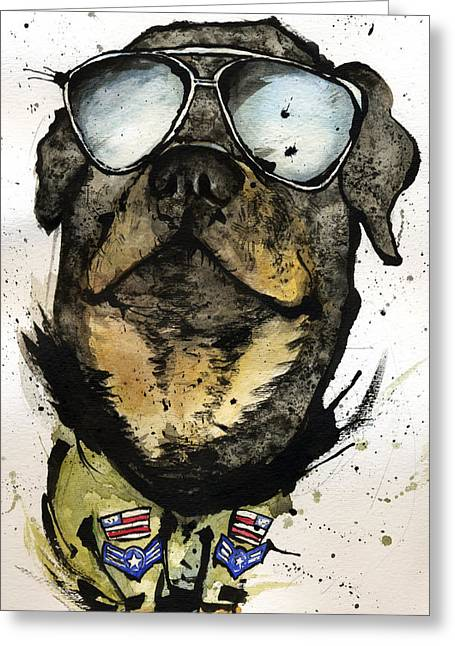 Dog Prints Mixed Media Greeting Cards - Rotweiler Greeting Card by Mark M  Mellon