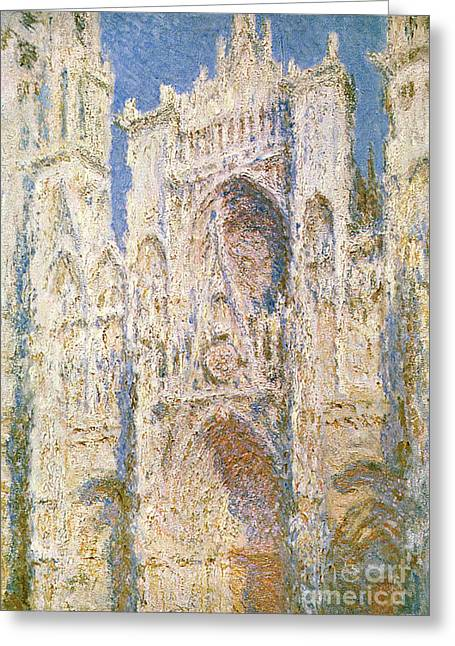 Sun Porches Greeting Cards - Rouen Cathedral Greeting Card by Claude Monet