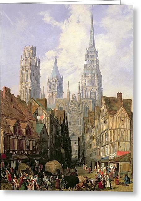Gothic Greeting Cards - Rouen Cathedral Greeting Card by Lewis John Wood