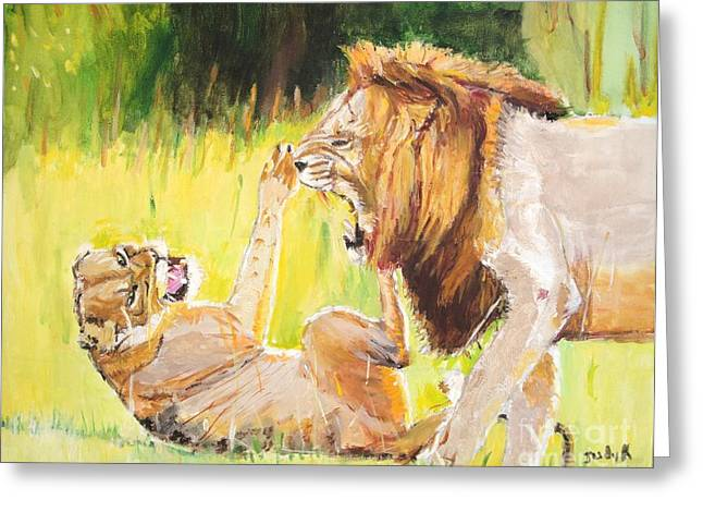 Recently Sold -  - Lions Greeting Cards - Rough Play Greeting Card by Judy Kay