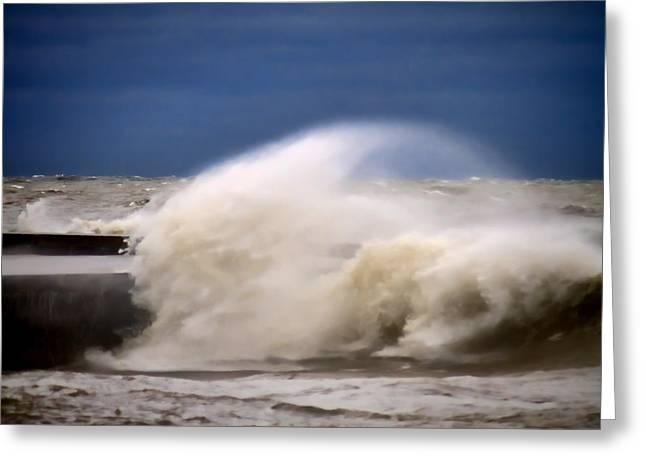 Lake Michgan Greeting Cards - Rough Surf  Greeting Card by Sven Brogren