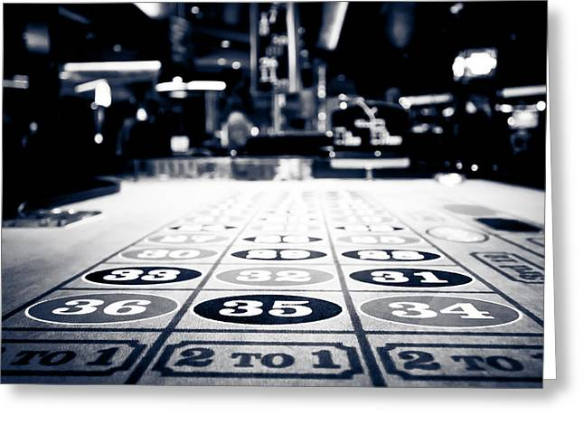 Roulettes Greeting Cards - Roulette Table in Black and White Greeting Card by Anthony Doudt