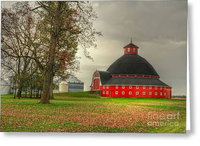 Round Barn Greeting Cards - Round Barn of Ohio Greeting Card by Pamela Baker