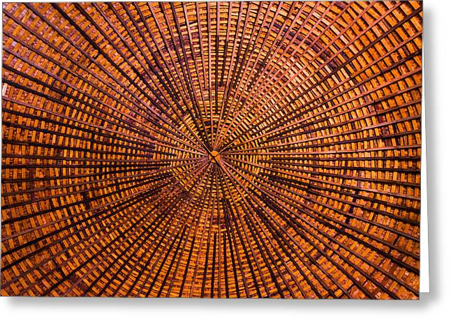 Round Barn Greeting Cards - Round Barn Roof Greeting Card by David Waldo