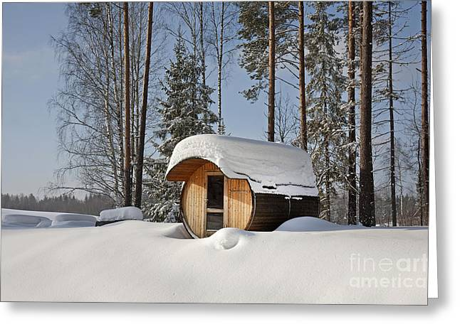 Snow Drifts Greeting Cards - Round Barrel Sauna in the Snow Greeting Card by Jaak Nilson