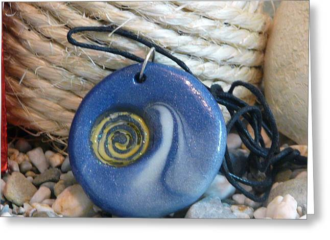 Blue Art Jewelry Greeting Cards - Round Blue Pendant with Spiral Greeting Card by Chara Giakoumaki