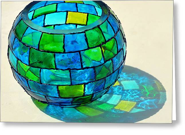 Geometric Glass Art Greeting Cards - Round N Round Greeting Card by Farah Faizal