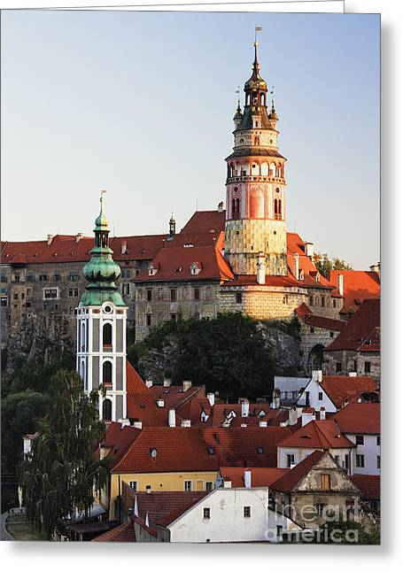 Round Tower At Cesky Krumlov Castle Greeting Card by Jeremy Woodhouse