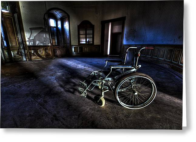 Mental Institution Greeting Cards - Round wheels in a round room Greeting Card by Nathan Wright