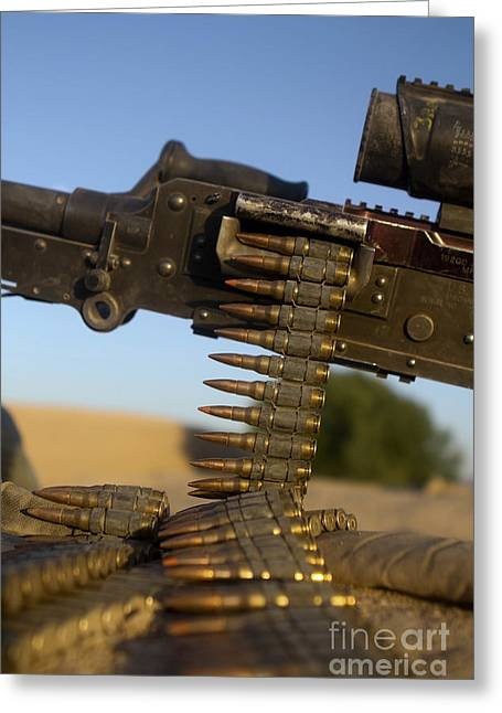 Fed Greeting Cards - Rounds Of A M240 Machine Gun Greeting Card by Stocktrek Images