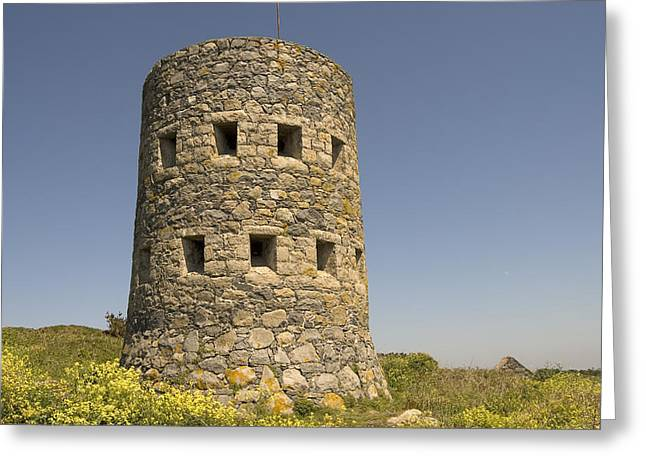 European Pyrography Greeting Cards - Rousse tower -napoleonic fortified tower  - Isle of Guenrsey Greeting Card by Urft Valley Art