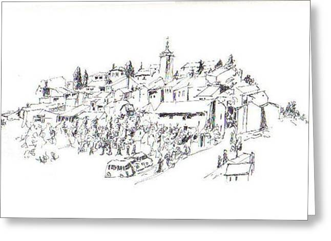 Southern France Drawings Greeting Cards - Roussillon Greeting Card by Lennart Osterlind
