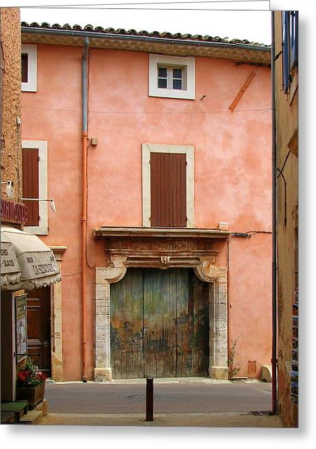Provence Village Greeting Cards - Roussillon Painted Door Greeting Card by Carla Parris
