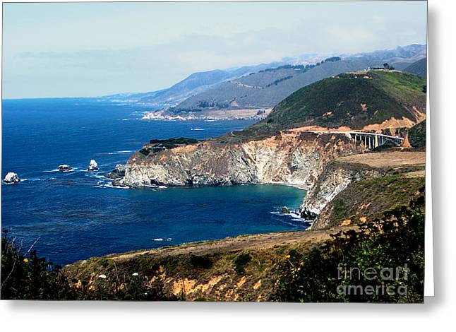 Fall Scenes Pyrography Greeting Cards - Route 1  California Pacific Coast  Greeting Card by The Kepharts