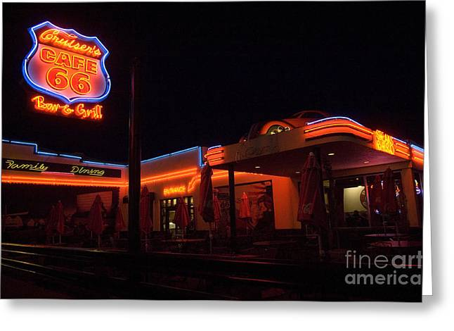 Jay Leno Greeting Cards - Route 66 At Night Greeting Card by Bob Christopher