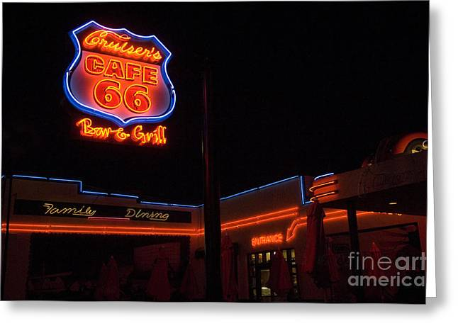 Sights Along Route 66 Greeting Cards - Route 66 Cruisers Greeting Card by Bob Christopher