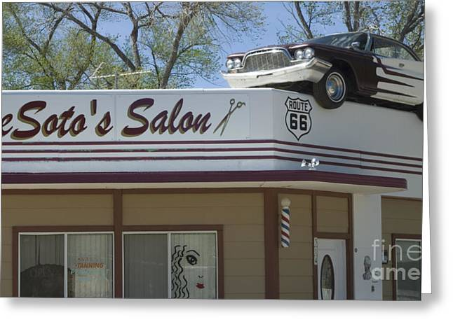 Jay Leno Greeting Cards - Route 66 DeSotos Salon Greeting Card by Bob Christopher