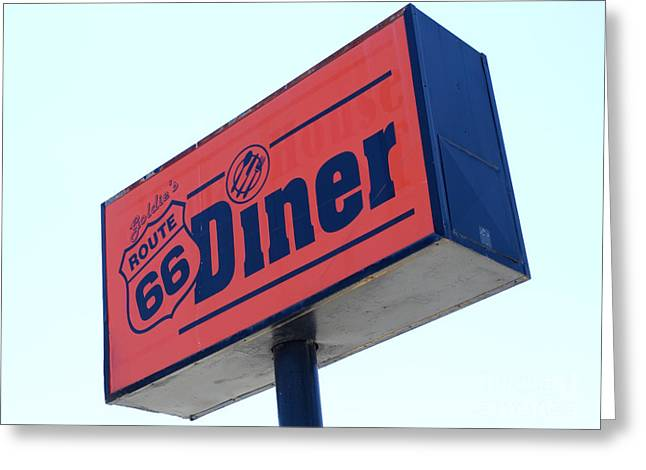 Jay Leno Greeting Cards - Route 66 Diner Sign Greeting Card by Bob Christopher