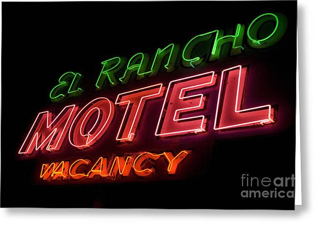 Jay Leno Greeting Cards - Route 66 El Rancho Greeting Card by Bob Christopher
