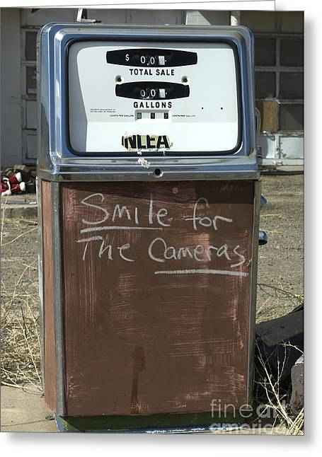Route 66 Gas Pump Humor Greeting Card by Bob Christopher