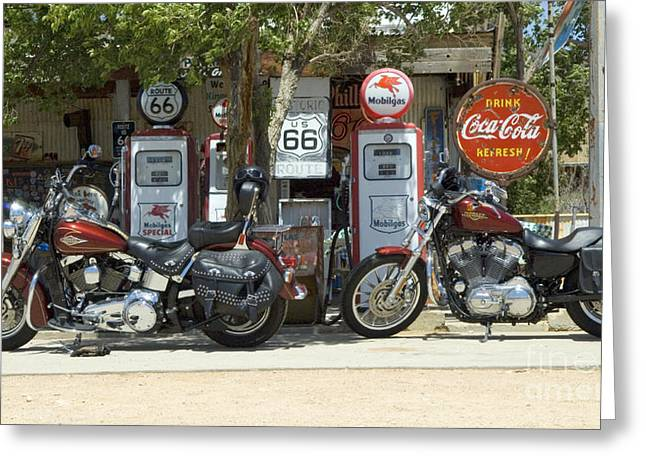 Sights Along Route 66 Greeting Cards - Route 66 Gas Pumps Greeting Card by Bob Christopher