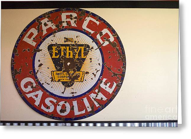 Sights Along Route 66 Greeting Cards - Route 66 Gasoline Sign Greeting Card by Bob Christopher