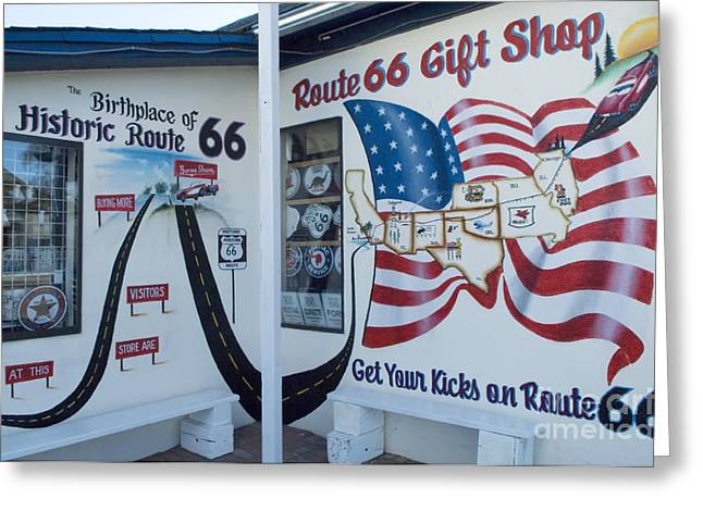 Jay Leno Greeting Cards - Route 66 Gift Shop Greeting Card by Bob Christopher