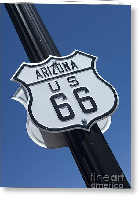 Sights Along Route 66 Greeting Cards - Route 66 Highway Sign Greeting Card by Bob Christopher